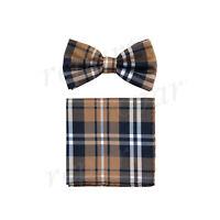 New formal men's pre tied Bow tie & Pocket Square Hankie plaid & checkers brown