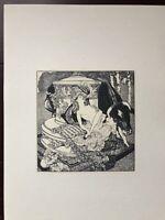 """Erotische Lithographie Marquis de Bayros """"Die Schöne spielt mit dem Stier"""" 1910"""