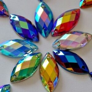 7x15mm 100pcs Horse eye Acrylic Crystal Strass sew-on Rhinestones Appliques