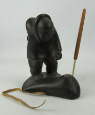Inuit Eskimo Stone Carving #7 Lisha Levi Hunter Pulling Seal From Ice