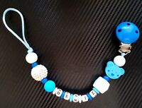 Personalised BPA FREE Silicone and Wood Dummy Clip Teether Holder for boys girls