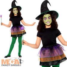 Pretty Witch Kit Girls Fancy Dress Halloween Wicked Childrens Kids Costume Set