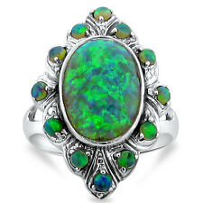 GREEN LAB FIRE OPAL ANTIQUE VICTORIAN STYLE 925 STERLING SILVER RING SIZE 8,#235