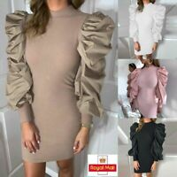 Fashion Womens Long Puff Sleeve Warm Ribbed Knitted Bodycon Mini Dress Jumper UK