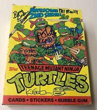 Teenage Mutant NINJA TURTLES Cartoon Cast Signed x8 Topps Series 2 Box BAS COA
