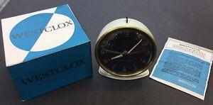 Vintage Westclox Alarm Clock, Metal, White, Mechanical, Scotland, New Old Stock