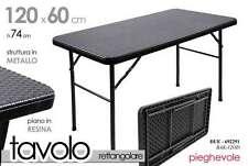 TAVOLINO PIEGHEVOLE RETTANGOLARE 120*60*H74CM STRUTTURA IN METALLO DUE-692291