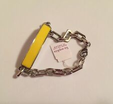 NWT Lia Sophia Silver Chain Lemon Yellow Enamel ID Style Bracelet Classify