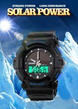 Men Sport Solar Power Date Backlight Digital Analog Water Resistant Army Watch