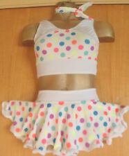 BIANCO/Neon a Pois/Lycra/Rock and Roll/Freestyle Dance/7/9