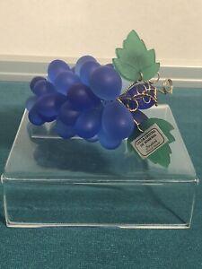 Vintage Svaton Color Crystal Of Bohemia Grapes Hand Made Rare Blue