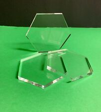 """5"""" Lucite /acrylic Hex Block / Base 3/8"""" Thick Set Of 3"""