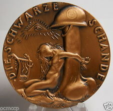 RARE RESTRIKE LARGE SIZE KARL GOETZ, GERMAN BLACK SHAME MEDAL / NUDE GIRL,EROTIC