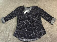 BNWT Gap Black Cobalt Blue Yellow Print V Neck Blouse Top Size S