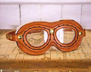 TAN GOGGLES Steampunk Aviator Pilot Biker Genuine Leather Handmade Glasses