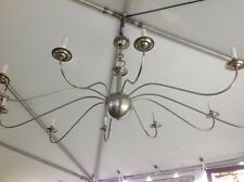 Colonial/Georgian Brushed Nickel 10 Arm Chandelier