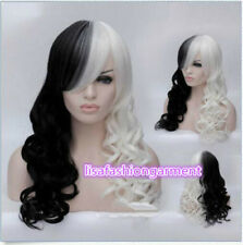 Women Cruella Deville Cosplay Wig Black White Synthetic Long Curly Wigs +Wig cap