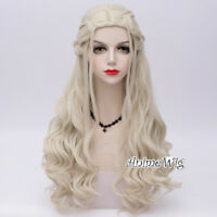 for Daenerys Targaryen Light Blonde Game of Thrones Long Curly Cosplay Wig