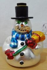 Dept 56 Glass Frosty Snowman Decoration 5 1/2 inches Winter
