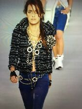 Chanel 06P JACKET TWEED BLACK BLUE GOLD BOWS BRAIDED GOLD CC buttons FR44-42 $7K