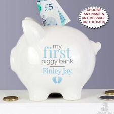 PERSONALISED My First Piggy Bank. BABY BOYS Gift. Blue Money Box. Newborn Child