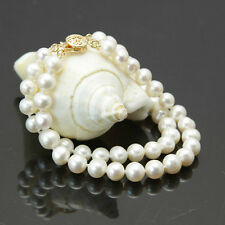 """2 rows 7-8mm white freshwater cultured pearl bracelet 7.5"""""""