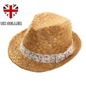 LADIES GIRLS STRAW TRILBY FEDORA SUN HAT BEACH SUMMER FESTIVAL UK SELLER