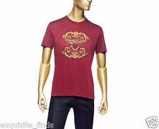 New VERSACE Burgundy Red T-Shirt with Gold Medusa Embroidery sz XXL