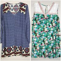 Lot of 2 Umgee Womens Size Small Tunic Dress Floral Lace Sleeveless /Long Sleeve