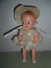 """VTG IDEAL 8 1/2"""" Celluloid Doll w/ Original Outfit Boopsie Type Molded Hair"""