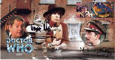 "Doctor Who ""Robot"" Stamp Cover - Signed NIC COURTNEY, TOM BAKER & TERRANCE DICKS"