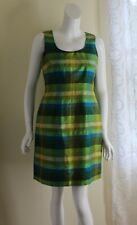 Jessica Howard Sz 8 Exquisite Green Blue Plaid Silk Sheath Fitted Dress Art-Wear
