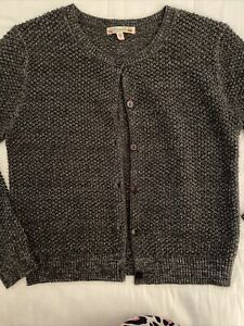 Bonpoint Grey Glitter Wool Cardigan 12 Years