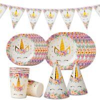 Unicorn Plate Paper Tableware Set Baby Shower Kids Birthday Party Decor Supplies