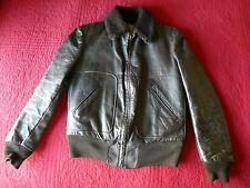 small vintage Sears Hercules brown leather horsehide? shearling bomber jacket a2