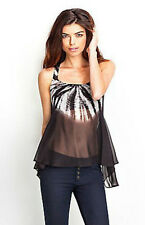 NWT GUESS $79 Tie Dye Swing Tank High Low Top Tee Sheer Tunic Black White S 4 5