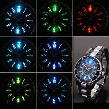 Neuve 8 LED Quartz Noir Aiguilles Sport Homme Bracelet Pile Rond Montre K52