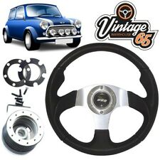 Austin Rover Mini 78>2000 Leather Alloy Motorsport Steering Wheel  Boss Kit Horn