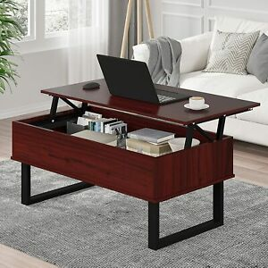 Lift Top Coffee Table with Hidden Storage Compartment Metal Frame Dining Space