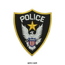 POLICE USA Sign Embroidered Patch Iron on Sew On Badge