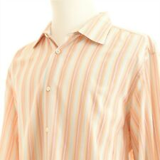 Banana Republic Pastel Striped Spread Collar Casual Shirt XL Peach Red Blue