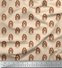Soimoi Basset Hound Dog Cotton Fabric Sewing Materials By The Mtr 58 Inches Wide