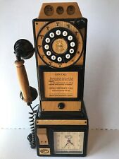 """Spirit of St. Louis Wood 3 Slot Payphone Country Telephone Wall Mount 18"""" Phone"""