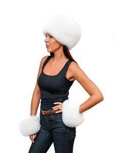Genuine White Arctic Fox Fur Handmade Hunter Flat Top Winter Hat + Cuffs Warmers