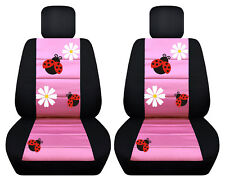 VW Beetle front car seat covers black/sweet pink w/daisy&ladybug,butterfly...