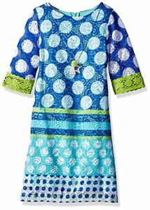 NWT-Rare Editions-Girls Size 4 Dress- Blue-Lime Green-Crochet Accents-Necklace
