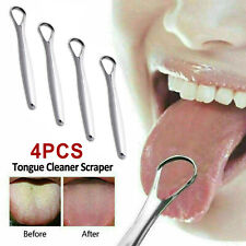 4PCS Bad Breath Oral Fresher Hygiene Stainless Steel Tongue Scraper Cleaner