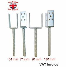 "Galvanised (""U"" Shape Pin) Post Fence Foot Anchors Thick:5mm 4 Sizes 51-101mm"