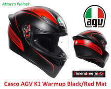 Casco Integrale AGV K1 WARMUP Colore Black/Red Taglia S 55/56 cm - Con Pinlock