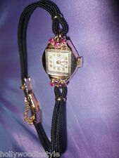 ANTIQUE WATCH 18K SOLID ROSE GOLD RUBY RUBIES